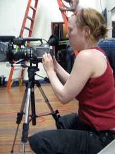 Kerrie Welsh, cinematographer of Fünf 'n' Twist, a new videodance by Anna Brady Nuse. Photo: Susanna Christians